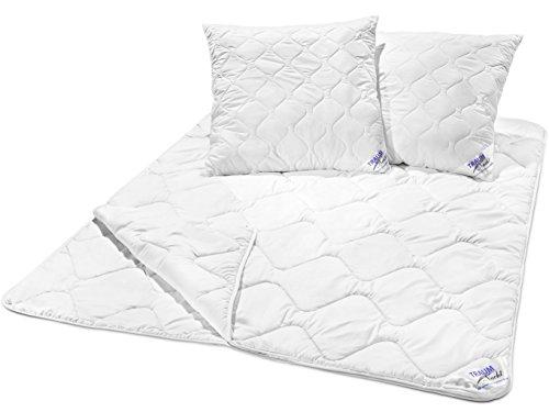 Traumnacht 3-Star 4-Jahreszeiten Bettenset, 1 x teilbare Bettdecke 200 x 200 cm und 2 x Kopfkissen 80 x 80 cm, weiß