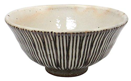 波佐見焼 利左ェ門窯 粉引京千筋 ご飯茶碗 大 茶 14799
