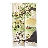 Aothpher 和風 のれん 梟 猫 笑顔 暖簾 ポリエステル 幅85cm×丈150cm
