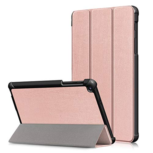 LMFULM Case for Samsung Galaxy Tab A 8.0 Inch 2019 (With S Pen) / SM-P200 / P205 PU Tri-Fold Smart Case Stand Case Flip Cover for Galaxy Tab A 8.0 2019 Rose Gold