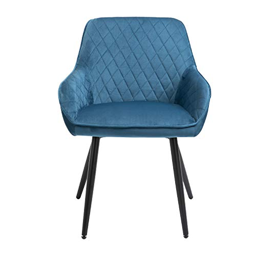 Sigtua Silla de Comedor Nórdicas Terciopelo Sillón Vintage para Salón Oficina Dormitorio, Silla de Ocio Azul