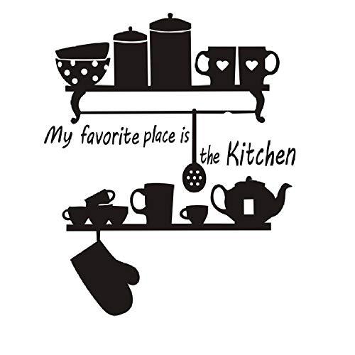 Mijn Favoriete Plek Is De Keuken Theepot Cup Servies Plank Citaat Muur Sticker Home Decor Muurschilderingen Versieren Vinyl Verwisselbare-44X53Cm