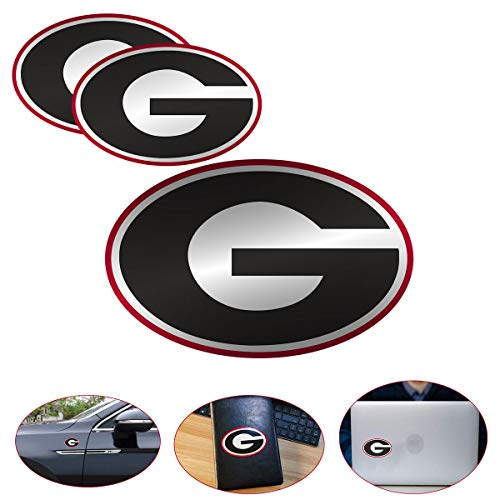 3pcs Georgia Bulldogs Metal Tag Stickers, Ga Bulldogs Bumper Stickers,UGA for Car Stickers, Wall Wtickers, Notebooks, Glass and Other Smooth Surfaces