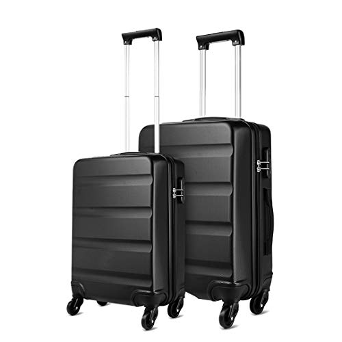 Kono ABS Hard Shell Luggage Sets of 2 Lightweight Travel Trolley Suitcase (Cabin+Medium, Black)