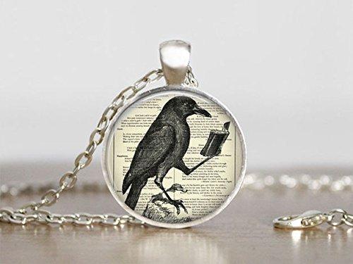 Collar de cuervo, colgante de cuervo, amantes del libro, colgante redondo de cristal plateado, joyería de arte fotográfico, collar de cristal