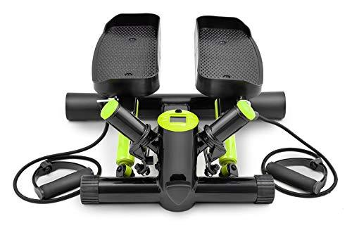 Hop-Sport Swing Side Stepper HS-035S Computer Trainingsbänder verstellbare Tritthöhe Einstellbarer Widerstand (Schwarz-hellgrün)