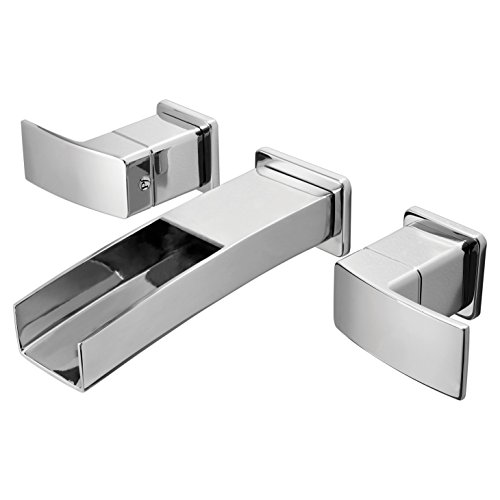 Pfister LG49DF1C Kenzo 2-Handle Waterfall Wall Mount Bathroom Faucet in Polished Chrome, Water-Efficient Model