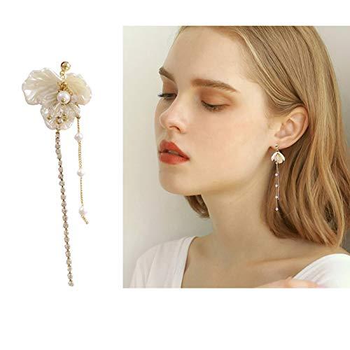 Pendientes sin Agujeros para Orejas Perforadas, Concha de Resina Blanca, Flores, Perlas de Novia, Pendientes Largos con Clip de Borla de Cz para Mujer, Boda