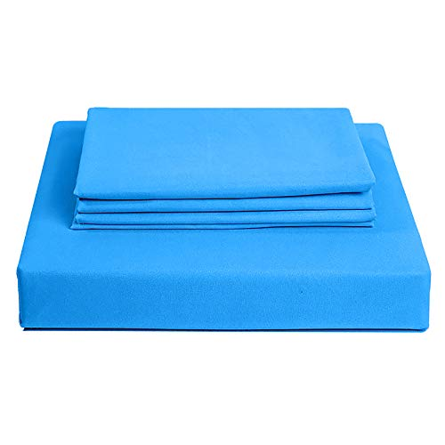 Amour Calin 3 Piece Bed Sheet Set - Easy Care Soft Brushed Microfibre Fabric - 1 Fitted Sheet, with Pair of Pillowcases - Shrinkage and Fade Resistant - 12 inches Deep Fitted (Spa Blue, Double)