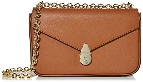 Calvin Klein Statement Series Lock Daytonna Leather Flap Convertible Shoulder Bag & Crossbody, Caramel