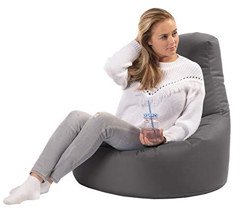 sunnypillow Gaming Sitzsack XXL mit Styropor Füllung Outdoor & Indoor für Kinder & Erwachsene Sitzsäcke Sitzkissen Bodenkissen viele Farben zur Auswahl Anthrazit