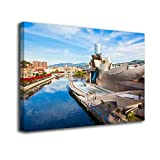 Desconocido Cuadro Lienzo Canvas Museo Guggenheim Bilbao Vizcaya – Varias Medidas - Lienzo de Tela Bastidor Madera de 3 cm - Impresion Alta resolucion (50, 33)