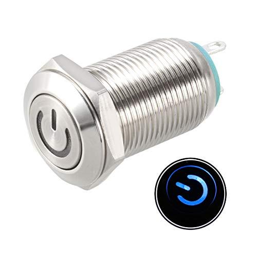 sourcing map Pulsador Botón Interruptor 16mm Montaje 1NC NO COM LED Azul 3-6V