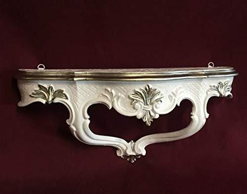 Artissimo Barock Konsole, Wandkonsole Weiß Silber Spiegelkonsolen, Wandregal, Wandablage 45x21