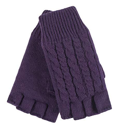 HEAT HOLDERS - Damen Thermo Winter Strick Fingerlos Handschuhe mit Plush Fleece Gefüttert (One Size, Violet)