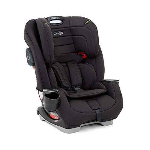 Graco 8AE799BLCEU Avolve Kindersitz Gruppe 1/2/3 mit Isofix, Autositz ab ca. 9 Monaten bis 12 Jahre (9 bis 36 kg), 5-Punkt-Gurt, Black, schwarz