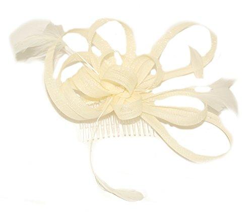 Bride Boutique Mariage Soirée Races en maille filet et boucle plumes Peigne à cheveux Bibi (Crème/ivoire)