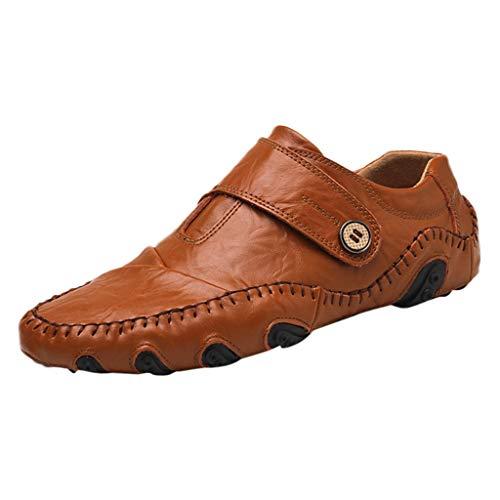 Skxinn Herren Loafers Business Schuhe Kunstlederschuhe/Schuhe mit Klettverschluss,Boot Breathable Laufen Walking Office Casual Täglichen Outdoor Trainer Gr 38-46(Braun,42 EU)