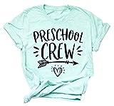 Preschool Crew T Shirts Women Cute Graphic Shirt Funny Teacher Back to School Fall Tees Tops Size Tag M (Mint)