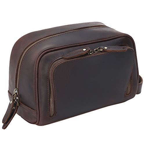 Polare Vintage Full Grain Leather Handmade Travel Toiletry Bag for Men - Dopp Kit - Shaving Kit with YKK Metal Zippers