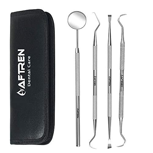 AFTREN Zahnpflege Set Dental 4er Professionelle Zahnreinigung Zahnsteinentferner Zahnsonde Mundspiegel Scaler Aus Edelstahl