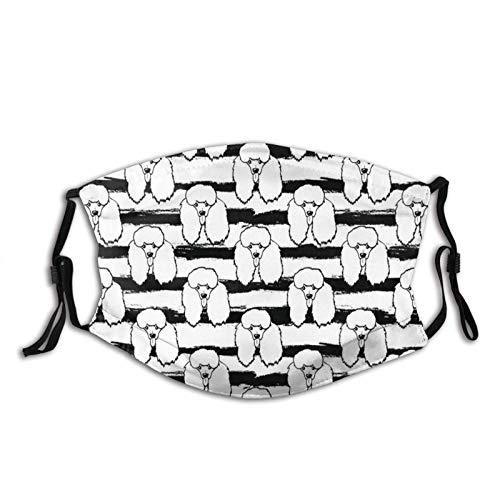 Poodle Black Stripe,Bandana para adultos a prueba de polvo, pasamontañas reutilizable lavable Ma-Sk con 2 filtros, máscaras negras reutilizables, máscaras reutilizables, 'Tamaño: M'