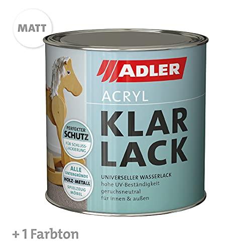 ADLER Acryl Klarlack Matt 125 ml - Acryllack mit Grundierwirkung, Grund- und Decklack für innen und außen - Wetterfester Lack für Holz, Metall & Kunststoff