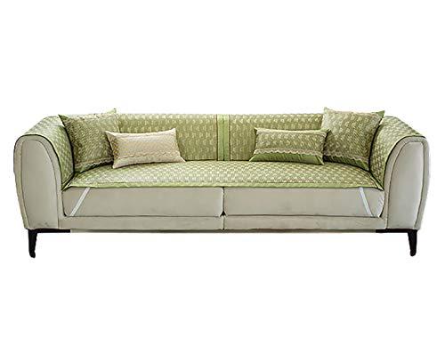 DDHBC Funda de Sofá Material de ratán de Hielo Fresco y cómodo Sofá Fundas Antideslizante,Toalla de sofá Cubierta,Protector de Muebles Sencillo y con Estilo,Verde-Verde 60x120cm