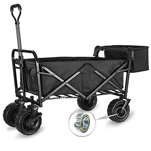 """WHITSUNDAY Collapsible Folding Garden Outdoor Park Utility Wagon Picnic Camping Cart with Fat Wheel Bearing and Brake (Standard Size(Plus+) 8"""" Heavy Duty Wheels, Black)"""