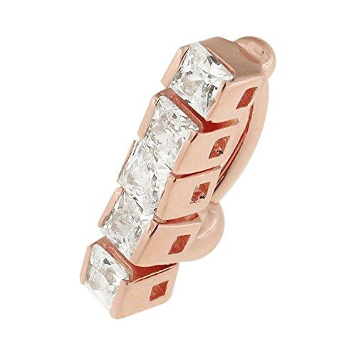 Roségoud vergulde beweegbare 5 vierkante heldere CZ steen 925 sterling zilveren navelpiercing sieraden