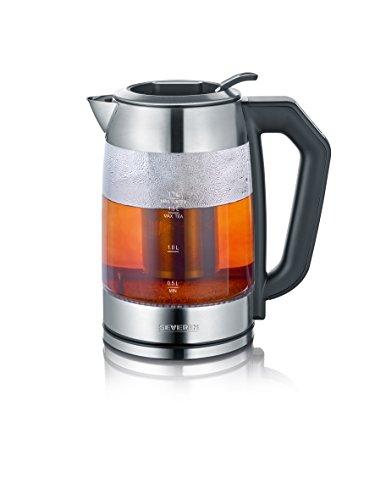 SEVERIN Digital Glas-Tee-/Wasserkocher, Mit Temperaturregler, Für 1,7 L Wasser/1,5 L Tee, ca. 2.200 W, WK 3477, Edelstahl/Schwarz