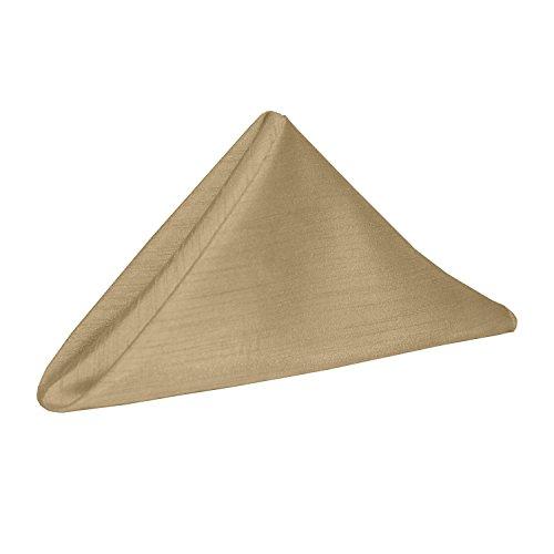 Ultimate Textile -1 Dozen- Reversible Shantung Satin - Majestic 17 x 17-Inch Cloth Napkins Camel Light Brown