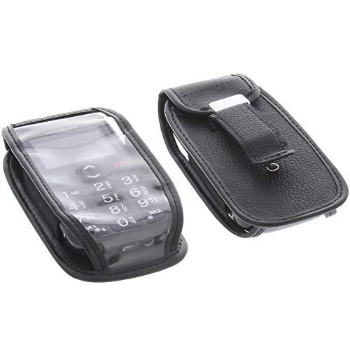 foto-kontor Handytasche für Swisstone BBM 320C mit Sichtfenster und Gürtelclip Schutzhülle schwarz