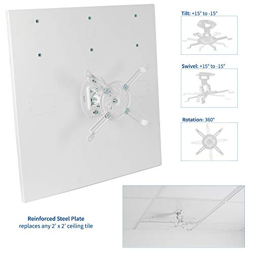 VIVO Universal Adjustable 2 x 2 feet Drop Ceiling Projector Mount, Suspended Drop-in Ceiling Projection Mounting Kit, White, MOUNT-VP07DP Photo #7
