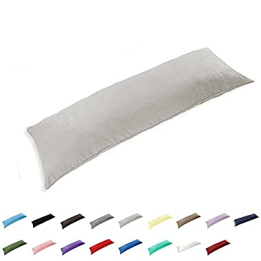 TAOSON 100% Cotton 300 Thread Count Body Pillow Cover Pillowcase Pillow Protector Cushion Cover with Zippers Only Cover No Insert (Silver Grey,21 x54 )