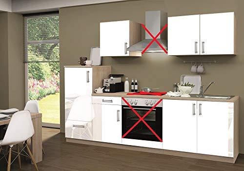 Menke Küchenzeile 270 cm Lack Weiß ohne Geräte mit Spüle - Smart Lack Weiß