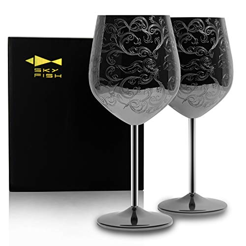 SKY FISH Stainless Steel Wine Glasses With Black Plated,etched with intricate and authentic baroque engravings,Royal style wine goblets,Set of 2(17oz)