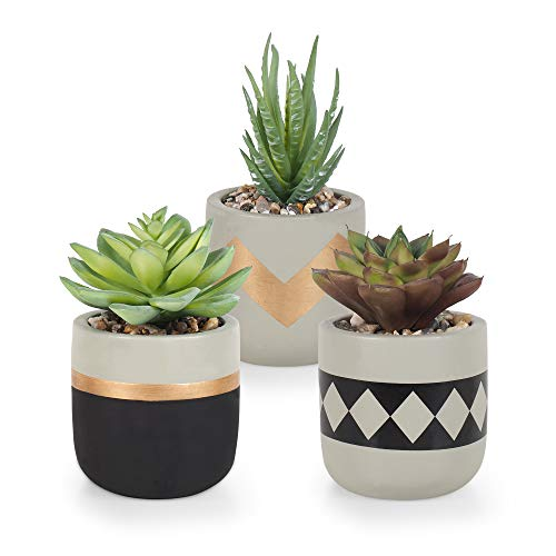 Gadgy Plantas Artificiales Decorativas Con Maceta | Juego De 3 | Planta Artificial Decorativa | Plantas Falsas En Macetas De Cemento | Decoracion Interior | Tiestos Pequeñas