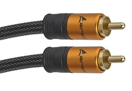 Aricona Cinch Audio Kabel – 2m - Digitales Koaxialkabel Subwoofer Kabel - Cinch auf Cinch - für HiFi- und Heimkino Systeme und weitere Audiosysteme