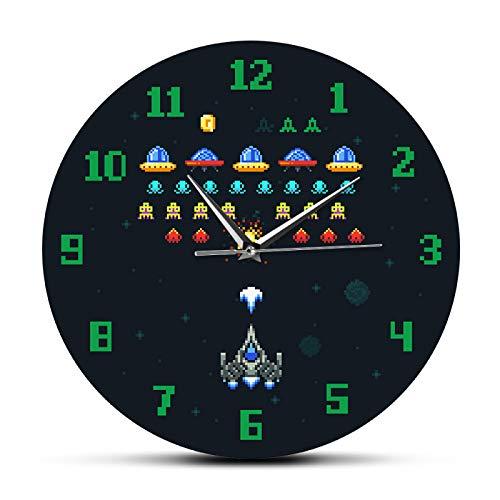 Reloj de Pared Cocina Vintage Videojuego Space Alien Invader Pixel Nave Espacial Sala de Estar para niños Reloj de Pared Arcade Videojuego Reloj de Pared de acrílico Impreso Adecuado para cafeterías
