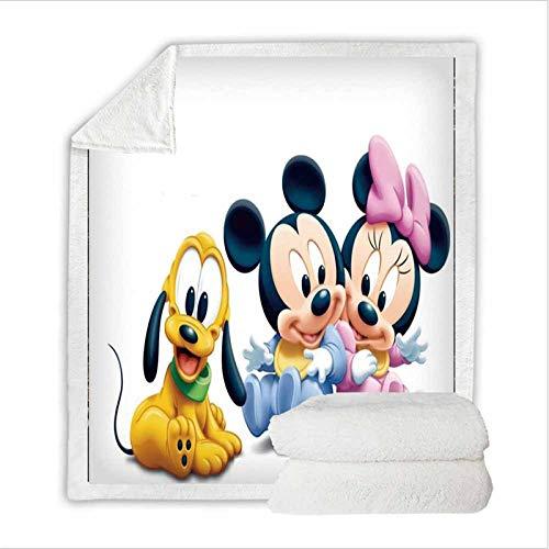 Bfrdollf Disney Mickey Minnie Mouse - Manta polar para niños y adultos, diseño de dibujos animados, adecuada para la oficina, el sofá, la cama, el salón, el dormitorio (150 x 200 cm)