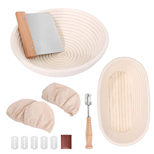 Bread Proofing Basket Set, 9.6 Inch Oval & 10 Inch Round Banneton, Natural Rattan Proofing Baskets with Bread Lame + Dough Scraper + Linen Liner - Bread Making Tools for Professional & Home Bakers