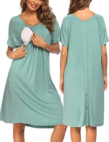 Pinspark Damen Stillnachthemd Umstandskleid Umstandsnachthemd Geburtshemd Baumwolle Geburtshemd Druckknöpfe Nachthemd für Schwangere Wassergrün S