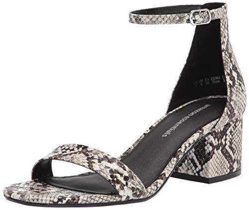 Amazon Essentials Women's Nola Heeled Sandal, Snake PU, 9 Wide US