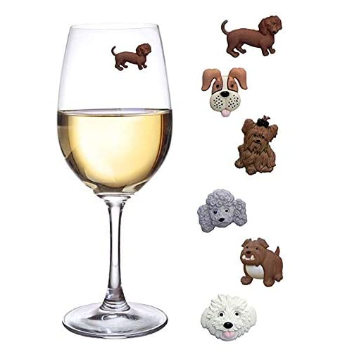 7f6752bef Simply Charmed Magnetic Dog Wine Charms or Glass Markers for Stemless  Glasses - Great Birthday or