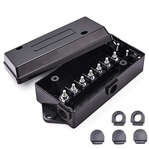 MICTUNING 7 Way Electrical Trailer Junction Box - 7 Gang Trailer Wire Connection Box Weatherproof for Rewiring Camper RV Caravans Boat Light 7 Way Trailer Wire Connectors