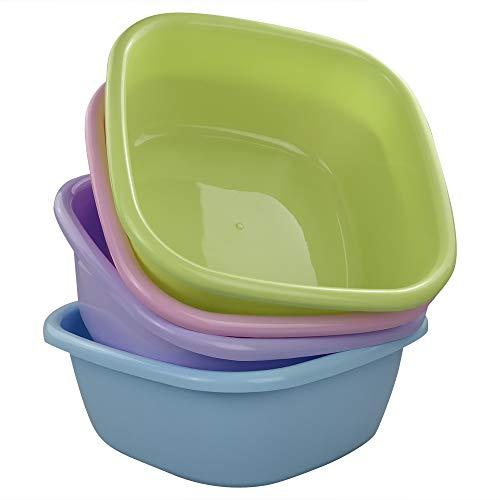 Ponpong Waschbecken Spülschüssel Spülwanne Waschschüssel Kunststoff Becken Schüssel Plastik, Quadratisch, Farbig, 4 Stück