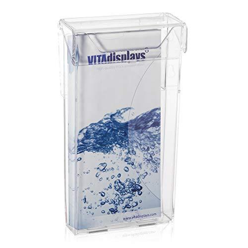 Wetterfeste Prospektbox mit Deckel als Prospekthalter für den Außenbereich im DIN lang (DL) trifold Flyer Format