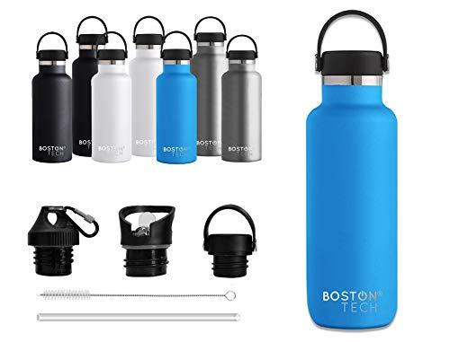 Boston Tech SP2 Botella de Agua Acero Inoxidable con Doble Pared al vacío, sin BPA, Mantiene Bebidas frías por 24h y Calientes por 12h, Reutilizable para Deporte, Gimnasio, Viajes (Azul 600ml.)