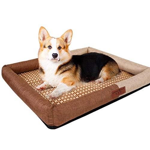 Hundekissen Hundematratze für kleine mittlere große Hunde, orthopädisches Hundebett kuschelig Schlafplatz -Kaffeefarbe_M-50 * 41 * 6